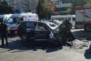 Авария порше с троллейбуса